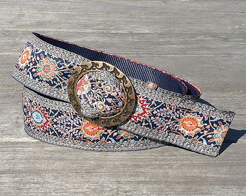 Turkish,Ribbon,Belt:,Blue,Flame,2 inch wide belt, turkish ribbon belt, blue belt, vegan belt, belt, turkish belt, woman's belt