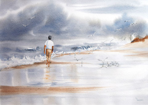 A,Walk,in,the,Surf,coastal home decor, beach, figure, man on beach, walk on beach, stormy sky, gray day, storm