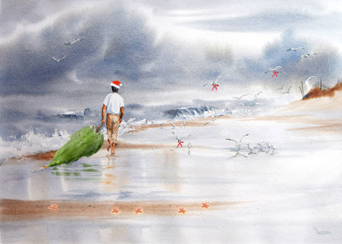 Surf,Santa,Christmas tree, Santa at the beach, Seashore Christmas..Cedar tree, gulls, waves, beach, beach home decor.