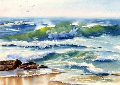 Seaspray,Print,Art,Giclee,watercolor,landscape,seashore,ocean,waves,blue,rocks,watercolorpaper,inks