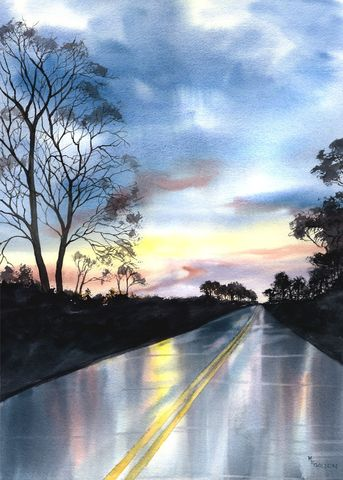 The,Road,Home,Art,Print,Giclee,sunset,reflections,rain,highway,trees,home,golden,blues,yellow,road,evening,inks,watercolor paper