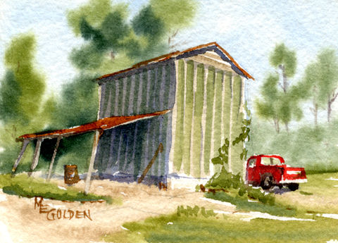 Daddy's,Truck,next,to,tobacco,barn,Art,Print,Giclee,tobacco_barn,red_pickup_truck,trees,tin_roof,rusty_tin,truck,pickup,watercolor,giclee_print,shed,inks,watercolor paper