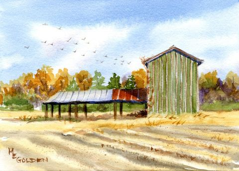 Yesterday,Art,Print,Giclee,painting,watercolor,landscape,tobacco_barn,barn,farm,rusty_tin_roof,field,birds,arches hotpress watercolor paper,inks