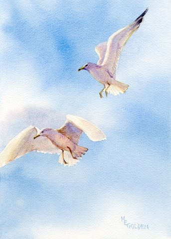 Flight,of,seagulls,in,midair,Art,Print,Giclee,paper,watercolor,seagull,sky,blue,giclee,coastal,flight,beach_painting,gulls,wings,bird_prints,bird,ink
