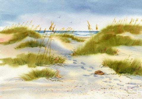 Moment,of,Peace,Beach,Print,from,watercolor,painting,Art,Giclee,landscape,seashore,sand_dunes,flip_flops,sea_oats,giclee,seascape,green,beach_painting,online_art_gallery,ink,paper