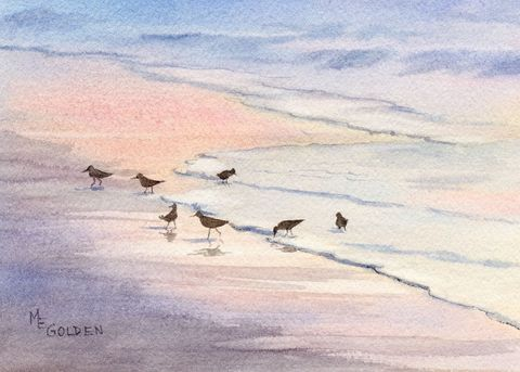 Evenglow,sandpipers,at,the,edge,of,sea,Art,Print,Giclee,reproduction,print,watercolor,seashore,sunset,seascape,beach_painting,reflections,pink,bird_painting,birds,ink,paper