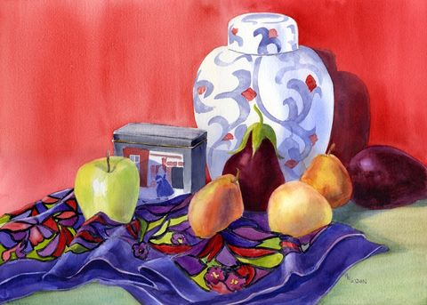 Ginger,Jar,Art,Print,Giclee,painting,watercolor,still_life,pears,eggplant,apple,red,scarf,tea_container,ginger_jar,purple,yellow,green,140 lb arches hotpress watercolor paper,inks