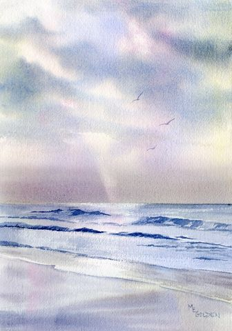 Silver,Morning,Seascape,with,waves,,clouds,,and,a,ray,of,light,Art,Print,Giclee,painting,landscape,seascape,clouds,ocean,ray_of_light,early_morning,grays,blue,waves,coastal beach decor