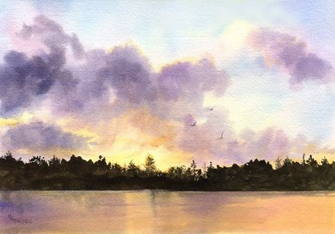 River,Sunset,Art,Print,Giclee,painting,landscape,watercolor,sunset,river,clouds,silhouette,paper,ink