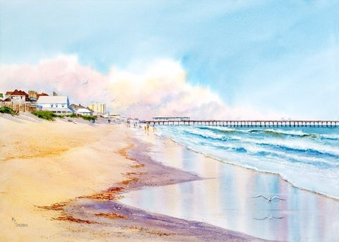 Wrightsville,Reflections,Art,Print,Giclee,watercolor,print,painting,beach,seashore,landscape,ocean,giclee,wrightsville,justbeachy_team,beach_painting,online_art_gallery,paper,ink