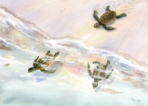 Wait,for,Me,baby,sea,turtles,rush,to,the,ocean,Art,Print,Giclee,baby_turtle,loggerhead_turtle,seascape,sand,sea_turtle,baby_sea_turtle,swim,giclee_print,beach_painting,seashore,arches watercolor paper,ink