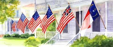 Independence,Day,in,Southport,Art,Print,Giclee,watercolor,july4,flags,patriotic,reproduction,giclee,red,white,blue,porch,NC_4th_July_Festival,paper,ink
