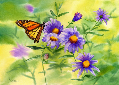 Monarch,Butterfly,with,asters,giclee,print,Art,Print,Giclee,butterfly,orange,blue,green,yellow,flowers,golden,inks,watercolor paper