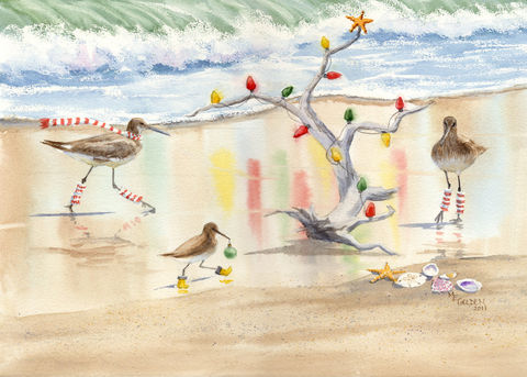 Decking,the,Tree,sandpipers,lighting,driftwood,Christmas,tree,giclee,print,Art,Print,Giclee,christmas_tree,waves,seascape,seashore,coastal_Christmas,legwarmers,sand,beach_painting,ocean,shells,ink,watercolor paper