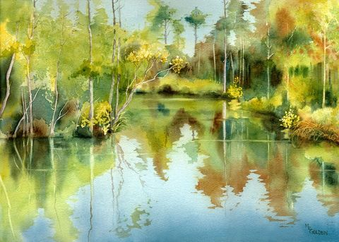 Tranquil,Waters,giclee,print,Art,Print,Giclee,watercolor,trees,river,reflections,green,swamp,grasses,online_art_gallery,ink,paper