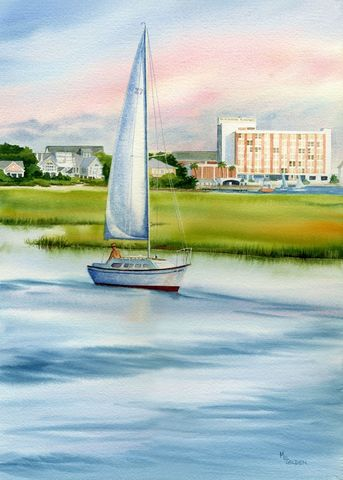 Blockade,Runner,Hotel,behind,a,Sailboat,at,Wrightsville,Beach,Art,Print,Giclee,watercolor,print,painting,landscape,marsh,sailboat,seashore,waterway,beach_painting,giclee,water,paper,ink