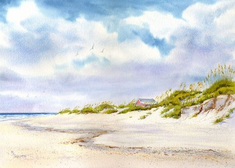 Summer,Retreat,Art,Print,Giclee,watercolor,giclee_print,sand_dunes,seashore,retreat,summer,seascape,house,justbeachy_team,paper,ink