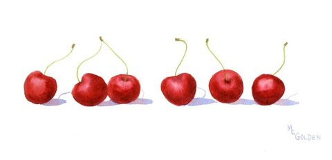 Long,Cherries,Art,Print,Giclee,painting,watercolor,cherries,red,fruit,kitchen,watercolor paper,inks