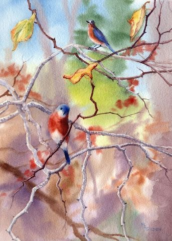 Bluebirds,in,the,Redbud,Tree,Art,Print,Giclee,landscape,watercolor,bluebirds,autumn,blue,birds,songbirds,paper,ink