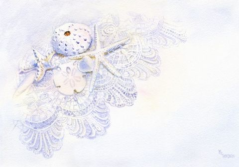 Shells,on,Lace,giclee,print,Art,Print,Giclee,watercolor,still_life,lace,starfish,sea_urchin,sand_dollar,seashore,cockle_shell,angel_wing,beach_painting,sea_shells,white_winter,inks,watercolor paper