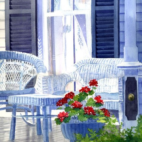 Wicker,Chairs,Art,Print,Giclee,painting,landscape,watercolor,wicker_chairs,reflections,windows,geraniums,porch,paper,ink
