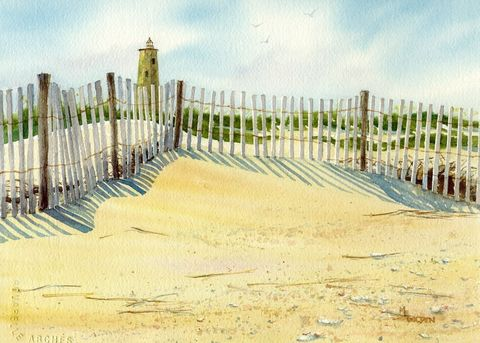 Bald,Head,Lighthouse,with,sand,fence,giclee,print,Art,Print,Giclee,painting,landscape,color,lighthouse,shadows,watercolor,seashore,online_art_gallery,seascape,beach_painting,sand_fence,Bald_Head_island,paper,ink