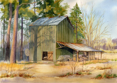 Autumn,Glow,tobacco,barn,giclee,print,Art,Print,Giclee,tobacco_barn,farm,green,gold,rusty_tin,vanishing_era,farmscape,autumn,landscape,ink,watercolor paper