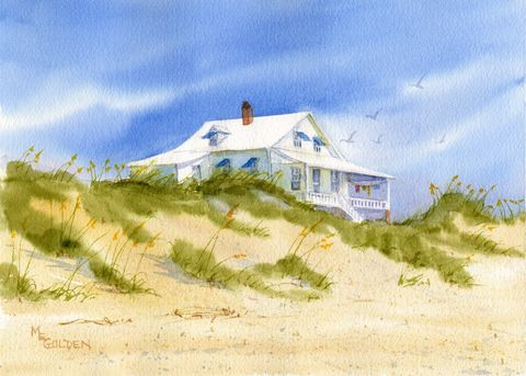 Sunwashed,Pawley's,Island,Beach,Cottage,Art,Print,Giclee,coastal beach decor, beach cottage,beach,watercolor,print,sunshine,reproduction,beach_painting,seascape,seashore,sea_oats,sand_dunes,paper,inks