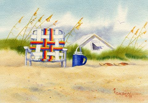 Be,Right,Back,Art,Print,Giclee,landscape,watercolor,beach,chair,sand_dunes,seascape,giclee,blue,sandals,watercolor_seascape,beach_house,thermos,paper,ink