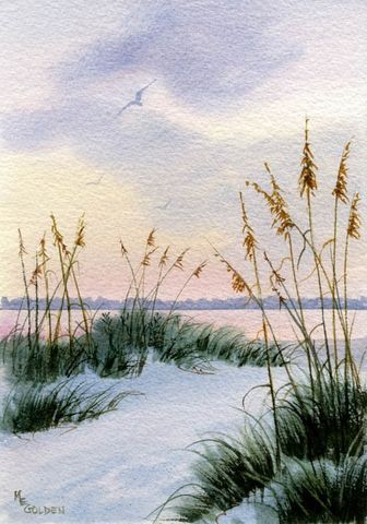 Dusk,in,the,Sand,Dunes,and,Sea,oats,giclee,print,Art,Print,Giclee,coastal beach decor, watercolor,seashore,sunset,sea_oats,clouds,seascape,coastal,beach_painting,sand_dunes,gulls,watercolorpaper,inks