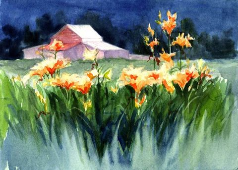 Barn,with,Lilies,Art,Print,Giclee,reproduction,giclee,lilies,barn,watercolor,ink,paper