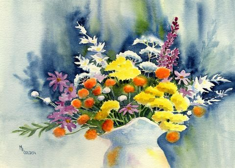Wildflowers,from,the,North,Carolina,woods.,Art,Print,Giclee,painting,flowers,wildflowers,bouquet,watercolor,paper,ink