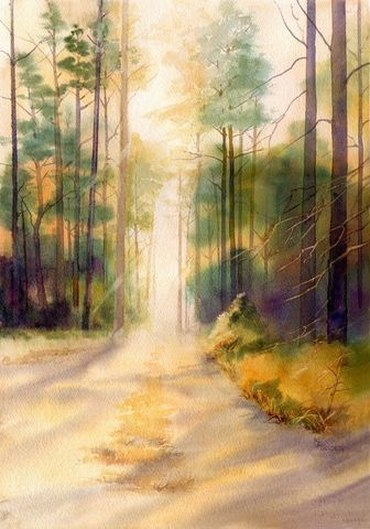 My,Fathers,Trees,and,road,through,the,forest,Art,Print,Giclee,landscape,watercolor,trees,Forest_road,woods,pine_trees,giclee,mary_ellen_golden,light_through_trees,golden_light,paper,ink