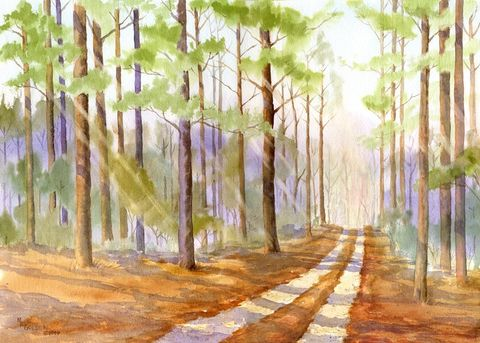 The,Road,Back,Home,Through,a,Pine,Forest,giclée,print,Art,Print,Giclee,painting,watercolor,landscape,pine_trees,woods_road,path,forest,glow,giclee_print,inks,arches hotpress watercolor paper