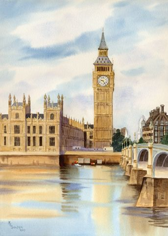Big,Ben,Art,Print,Giclee,painting,watercolor,england,big_ben,thames_river,landscape,arches hotpress watercolor paper,inks
