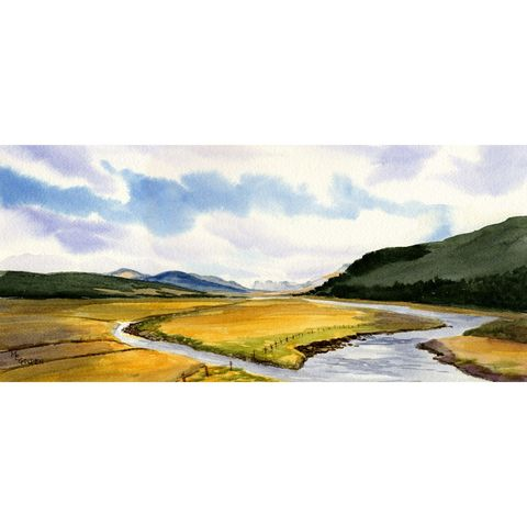 By,Yon,Bonnie,Banks,Scottish,landscape,Art,Print,Giclee,giclee,scotland,hills,stream,banks,gold,green,watercolor paper,inks