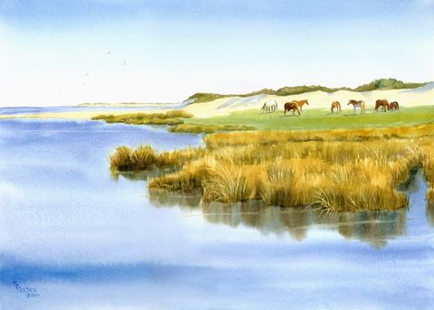 Cedar,Island,Horses,Art,Print,Giclee,horses,marsh,seascape,blue,gold,cedar_island,coastal decorinks,watercolor paper