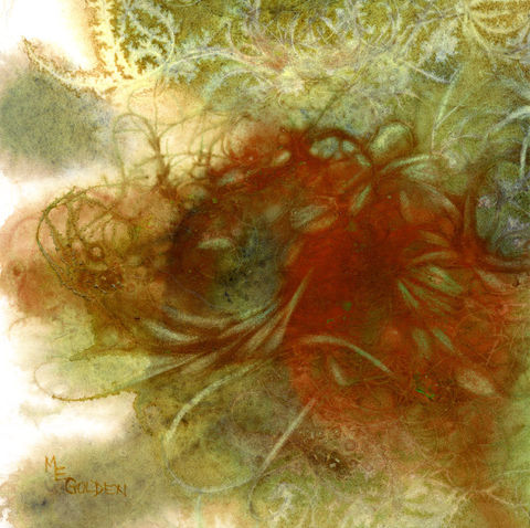 Net,Series,,Octopi,Art,Print,Giclee,Reproduction,net,underwater_abstract,green,watercolor_giclee,Mary_Ellen_Golden,beach_painting,red,painting,inks,paper