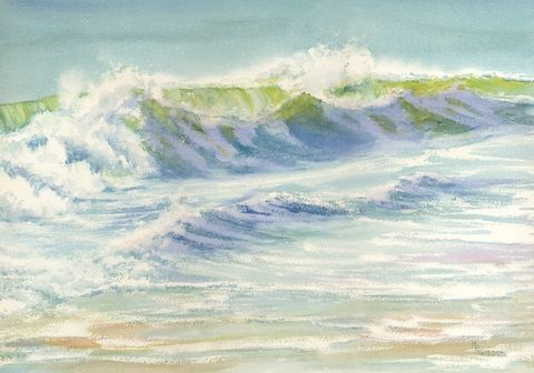 Splash,Art,Print,Giclee,wave,watercolor,seashore,beach,giclee,justbeachy_team,reproduction,wweteam,paper,ink