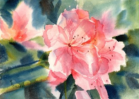 Azaleas,Art,Print,Giclee,landscape,painting,watercolor,flower,azalea,pink,paper,ink