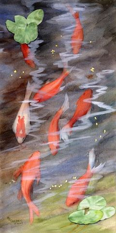 Koi,Art,Print,Giclee,koi,fish,orange,water,fishpond,inks,watercolor paper