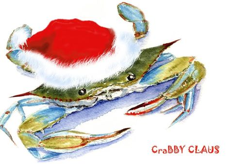 Crabby,Claus,Art,Print,Giclee,watercolor,christmas,crab,funny,santa,justbeachy_team,giclee,red,wweteam,paper,ink
