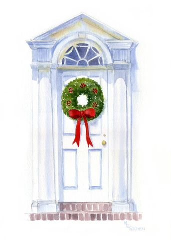 Home,for,the,Holidays,Art,Print,Giclee,watercolor,home,holiday,wreath,doorway,christmas,paper,ink