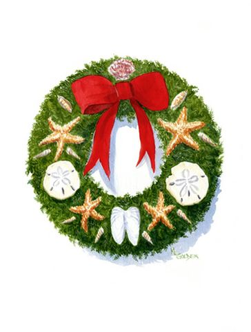 Coastal,Christmas,Art,Print,Giclee,watercolor,christmas_wreath,shells,red,green,cards,ink,paper
