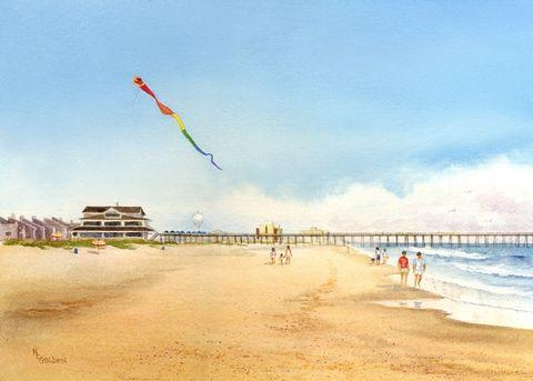 Cloud,Surfing,with,Kites,by,the,Ocean,at,Wrightsville,Beach,Art,Print,Giclee,watercolor,print,painting,landscape,kites,pier,seashore,seascape,giclee,ocean,beach_painting,ink,paper