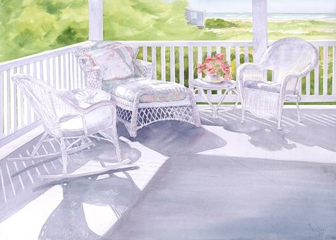 If,These,Chairs,Could,Talk,Art,Print,Giclee,landscape,watercolor,seashore,chairs,shadows,beach,paper,ink