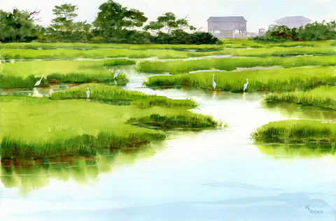 Marsh,Gathering,of,white,egrets,giclee,print,from,a,watercolor,Art,Print,Giclee,marsh,watercolor_seascape,green,shorebirds,giclee_seascape,giclee_print_birds,water,channels,fishing,marsh_grasses,white_egrets,inks,watercolor paper