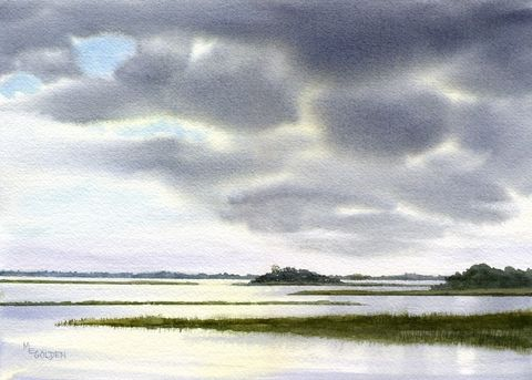 Approaching,Storm,on,the,Intracoastal,Waterway,Art,Print,Giclee,watercolor,print,painting,landscape,storm,waterway,marsh,seashore,seascape,giclee,justbeachy_team,paper,ink