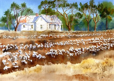 Cotton,Fields,Back,Home,giclee,print,from,original,watercolor,Art,Print,Giclee,painting,cotton_fields,back_home,brown,white,farmhouse,farm_scene,giclee_print,watercolor paper,inks