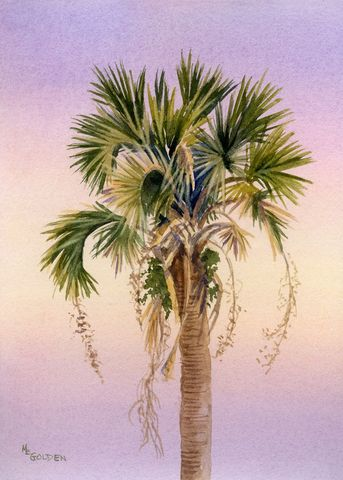 Sunset,Palm,fronds,waving,in,the,evening,light,Art,Print,Giclee,painting,landscape,palm_tree,sunset,trees,watercolor,pink,gold,beach_painting,paper,ink